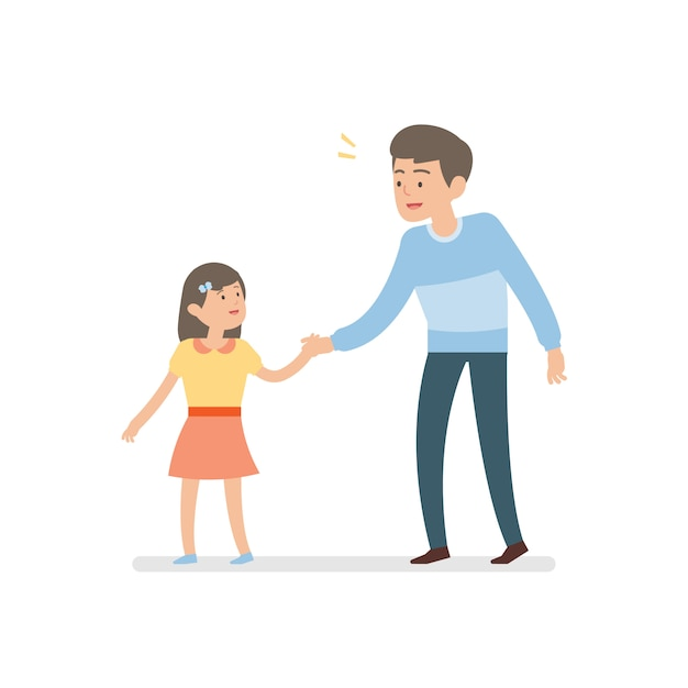 Happy father and daughter holding hand Premium Vector