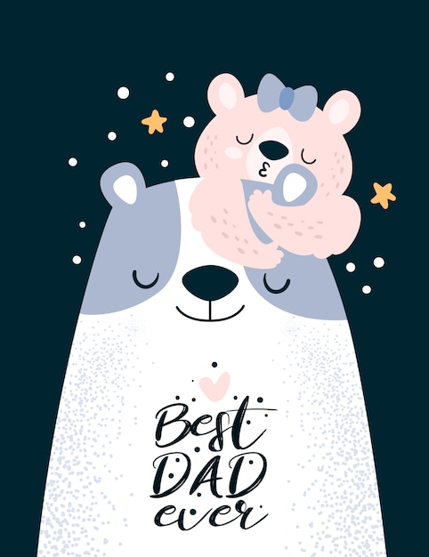 Happy father day. best dad ever. cute teddy bears family Premium Vector