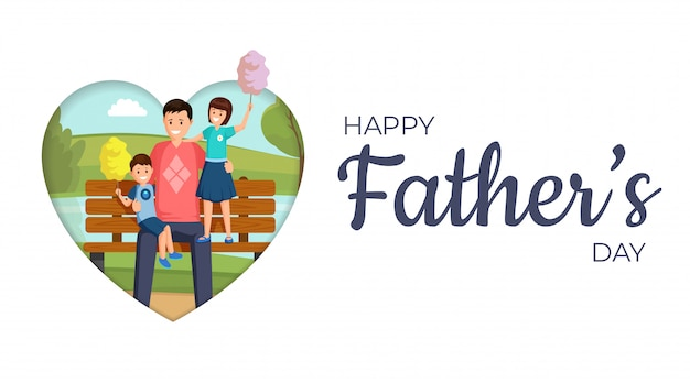 Happy father day vector banner template. smiling son and daughter sitting on bench in park with daddy cartoon characters. happy family eating sweet cotton candy flat illustration with typography Premium Vector