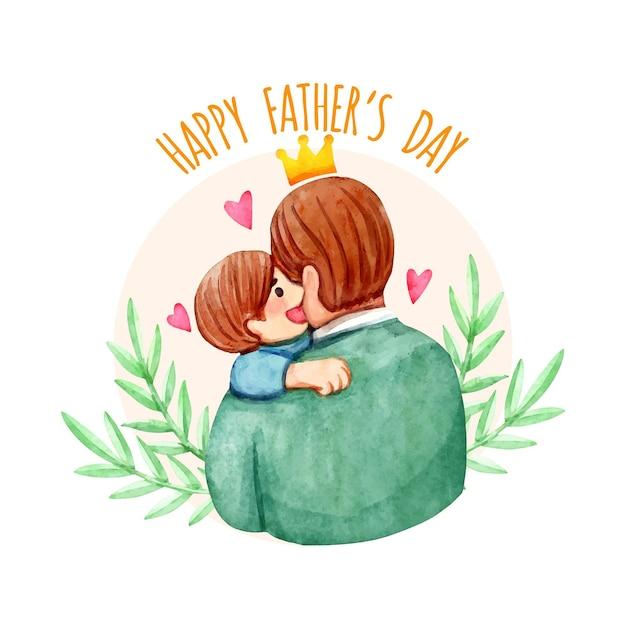 Счастливый день отца с мужчиной и ребенком Бесплатные векторы