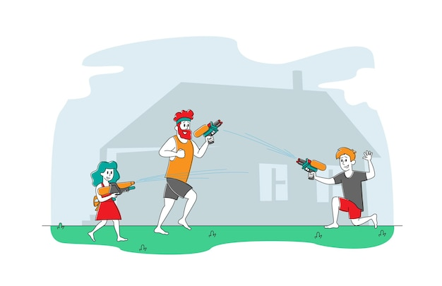 Happy father and kids playing and shooting with water guns