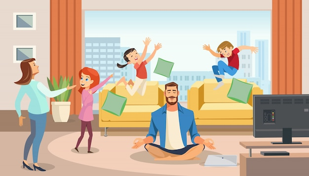 Happy father in lotus position surrounded family Premium Vector