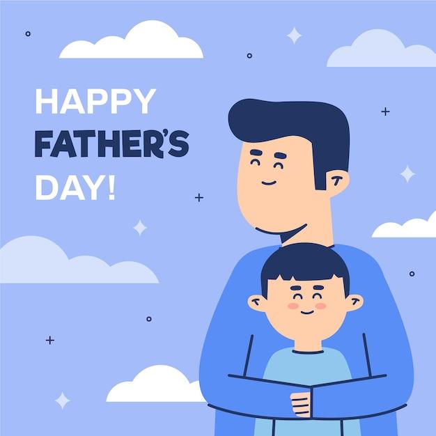 Padre felice e figlio adorabile che stanno insieme Vettore gratuito