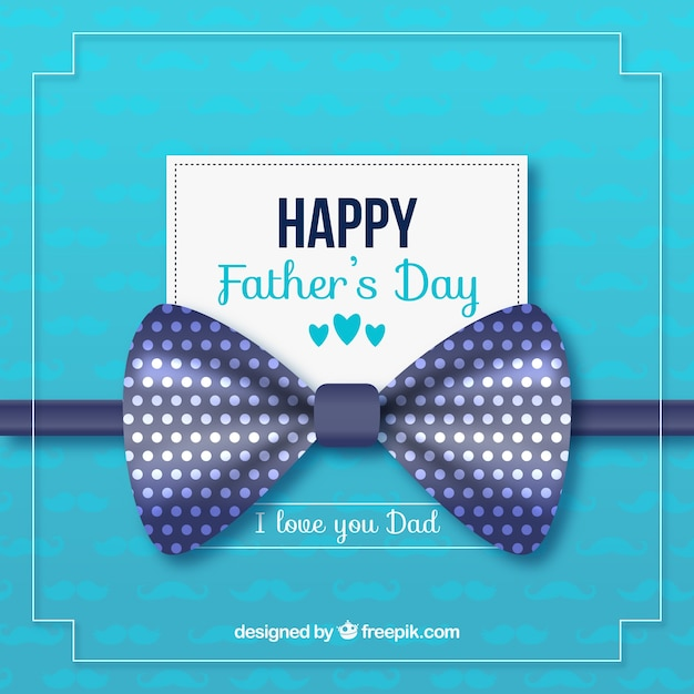 Happy father's day background with blue ribbon | Free Vector