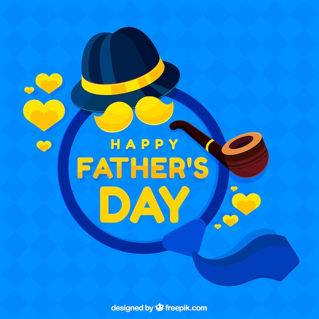 Happy father\'s day background with\ elements