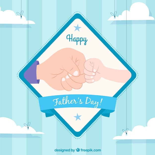 Happy father's day background with shock of fists Free Vector