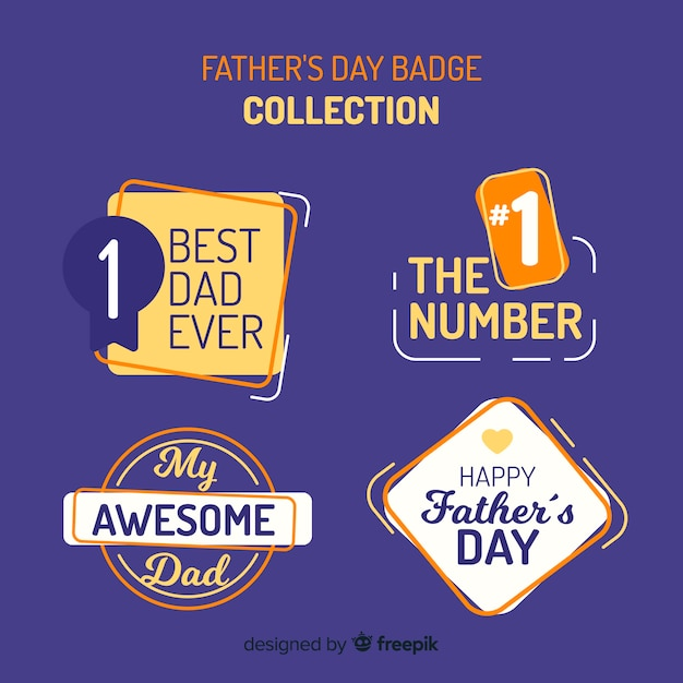 Happy father's day badge collection Free Vector