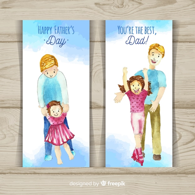 Happy father's day banners Free Vector