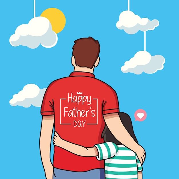 幸せな父の日漫画イラスト Premiumベクター