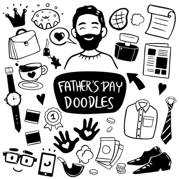 Happy father's day doodle element hand drawn Premium Vector