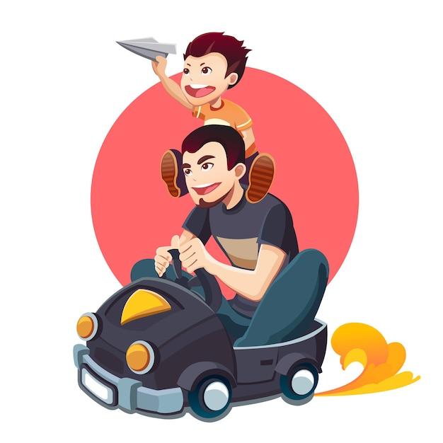 父の日おめでとう。父と息子。 Premiumベクター