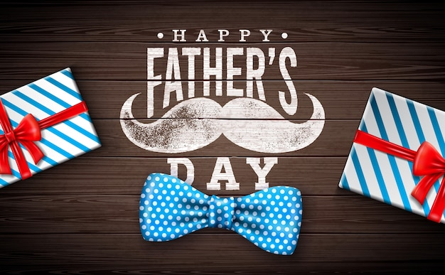 Happy father's day greeting card design with dotted bow tie, mustache and gift box on vintage wood background.  celebration illustration for dad. Free Vector