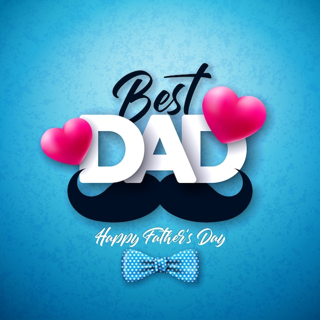 Happy father's day greeting card design with dotted bow tie, mustache and red heart on blue background.  celebration illustration for dad. Free Vector