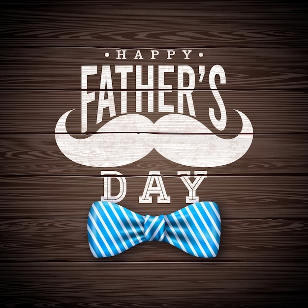 Happy father's day greeting card design with sriped bow tie, mustache and typography letter on vintage wood background.  celebration illustration for dad. Free Vector