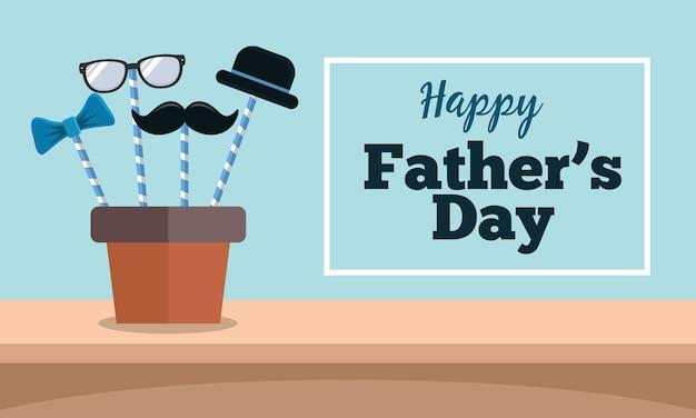 口ひげ、帽子、眼鏡、フラットなデザインのネクタイと幸せな父の日グリーティングカード Premiumベクター
