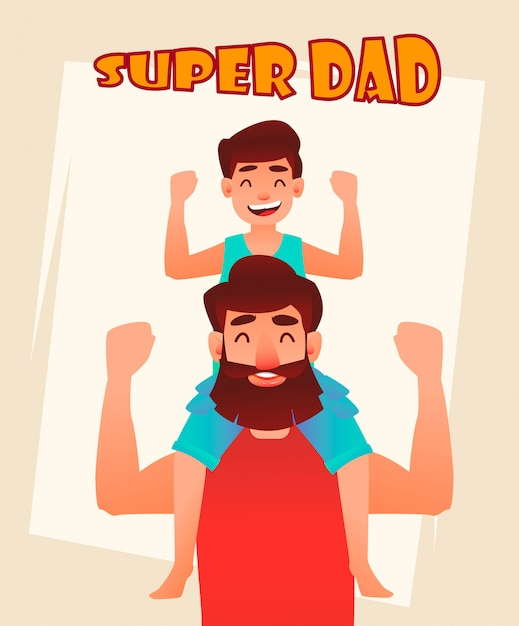 Happy father's day greeting card Premium Vector