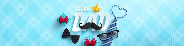 Счастливый день отца плакат или баннер шаблон с галстуком, очки и подарочной коробке на синем Premium векторы