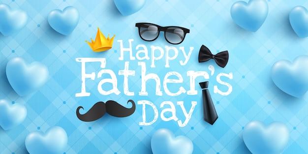 Счастливый день отца плакат или баннер шаблон с галстуком, очки и сердце на синем Premium векторы