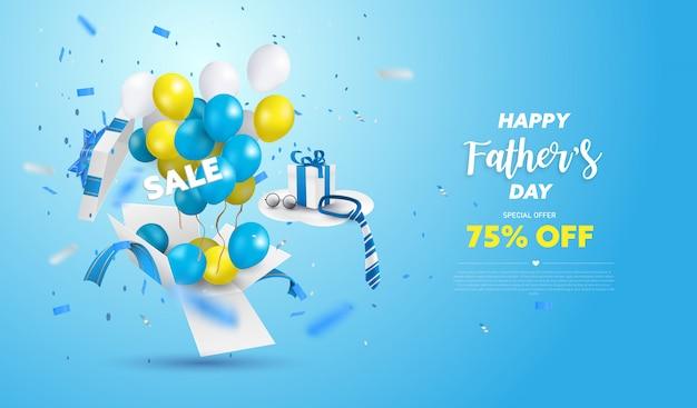 해피 아버지의 날 판매 배너 또는 파란색 배경에 승진. 노란색, 흰색 및 파란색 Ballon으로 깜짝 상자가 열립니다. 프리미엄 벡터