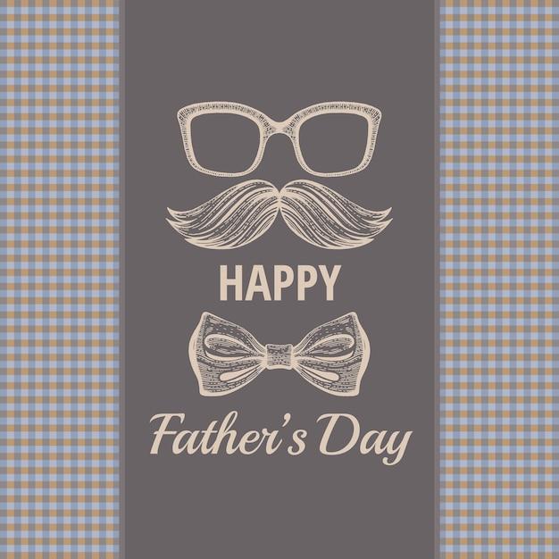 Счастливый день отца винтажная открытка. Premium векторы