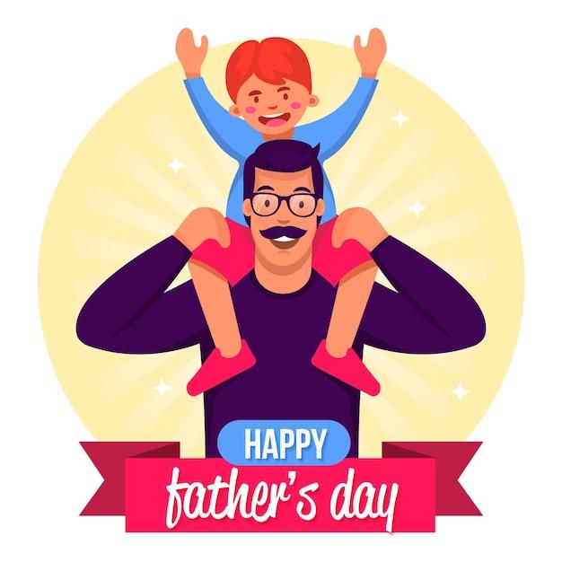 お父さんと子供との幸せな父の日 無料ベクター