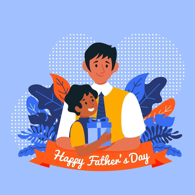 Happy father's day with dad and boy holding gift Free Vector