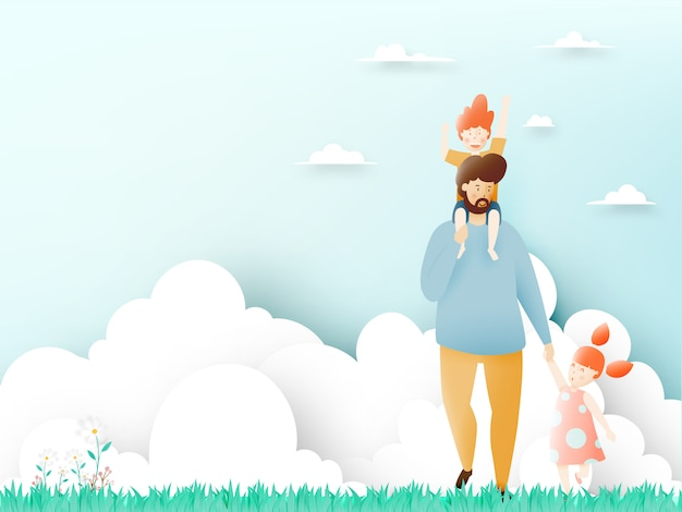 Happy father's day with father and son and daughter with pastel scheme and paper art vector illustration Premium Vector