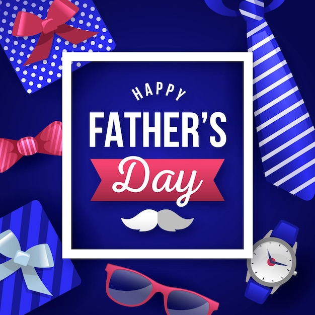 Happy father's day with gifts and mustache Free Vector