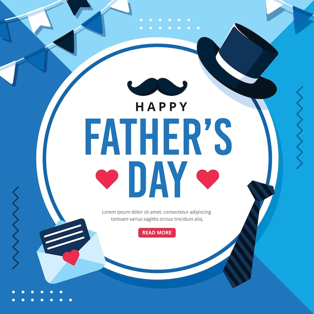 Happy father's day with hat and tie Free Vector