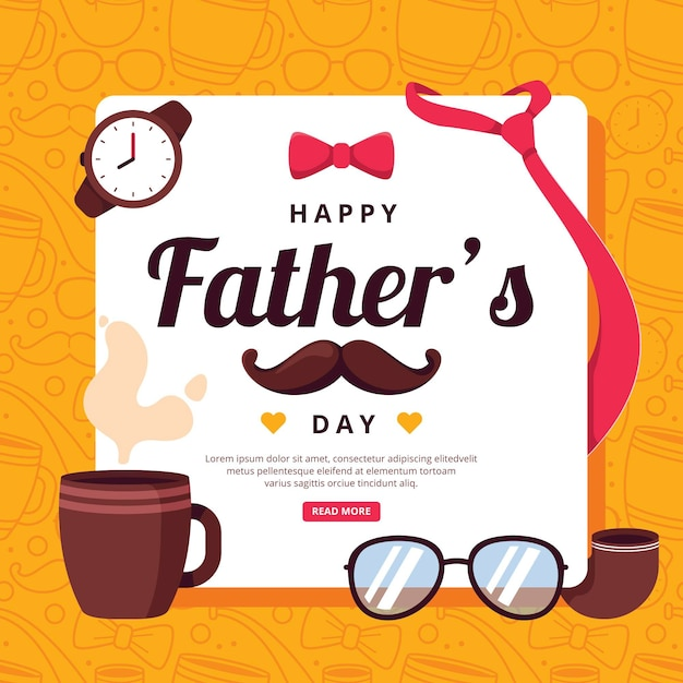 Happy father's day with mustache and mug Free Vector