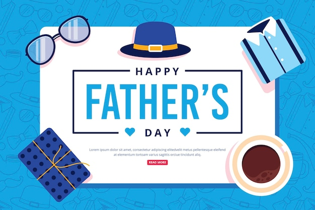 Happy father's day with present and coffee Free Vector