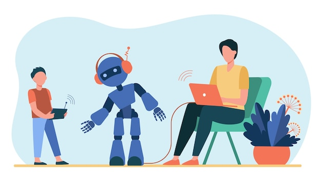 Happy father and son playing with robot. laptop, kid, cyborg flat vector illustration. robotics and digital technology Free Vector