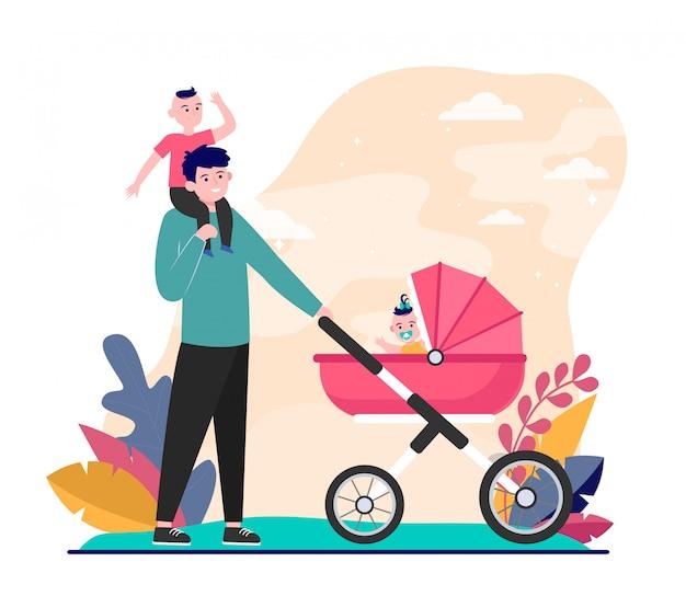 Счастливый отец гуляет с детьми Бесплатные векторы