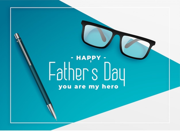 Happy fathers day background with eye glasses and pen Free Vector