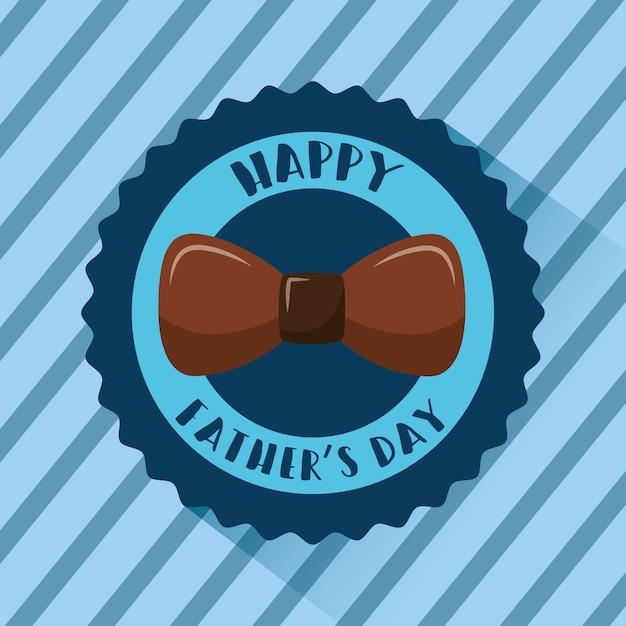 幸せな父の日バッジ茶色の弓のストライプの青い背景 Premiumベクター