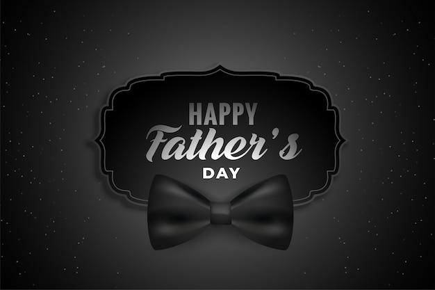 Счастливый день отцов черный фон с реалистичным бантом Бесплатные векторы