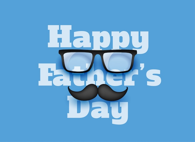 Happy fathers day blue greeting background Free Vector