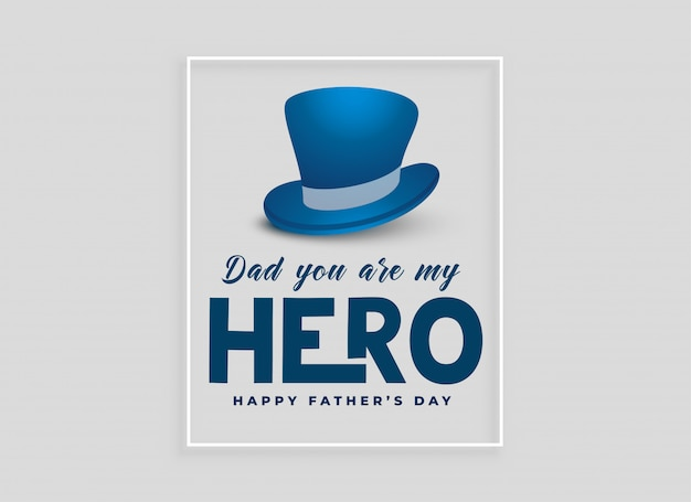 Happy fathers day card design with hat Free Vector