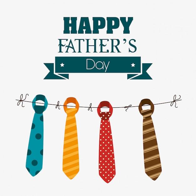 Happy fathers day card design. Premium Vector