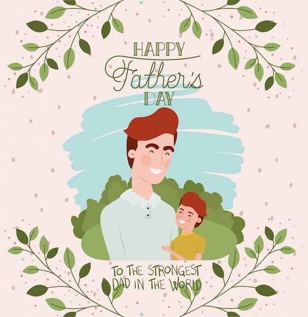 아빠와 아들 캐릭터와 함께 행복 한 아버지 날 카드 프리미엄 벡터
