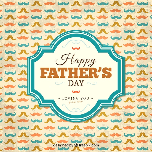 Happy fathers day card with mustaches Free Vector