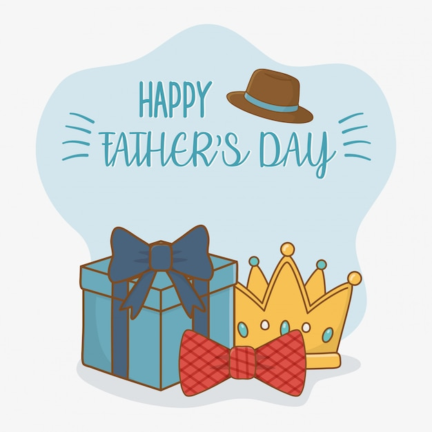 Happy fathers day card with set elements Premium Vector