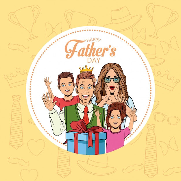 Happy fathers day card Premium Vector