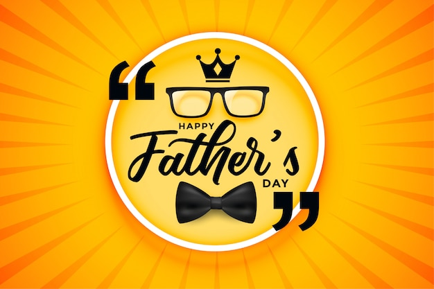 Happy fathers day celebration card with crown bow and spectacle Free Vector