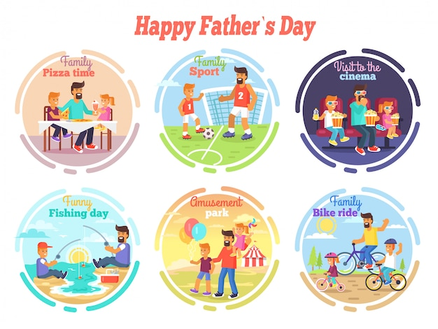Happy fathers day celebration set of illustrations Premium Vector
