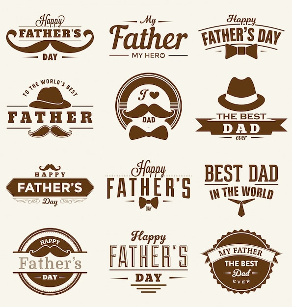 Happy fathers day collection Free Vector