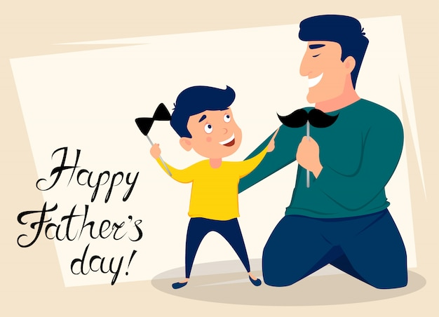 Happy fathers day greeting card Premium Vector