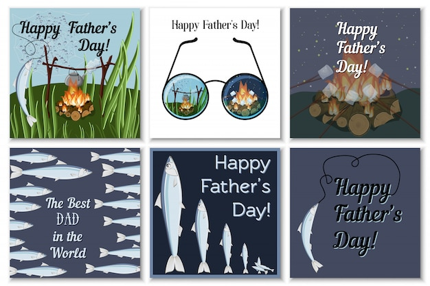 Happy fathers day greeting cards set for dad fisherman with campfire, roasting marshmallows, glasses, catching fish and text. Premium Vector