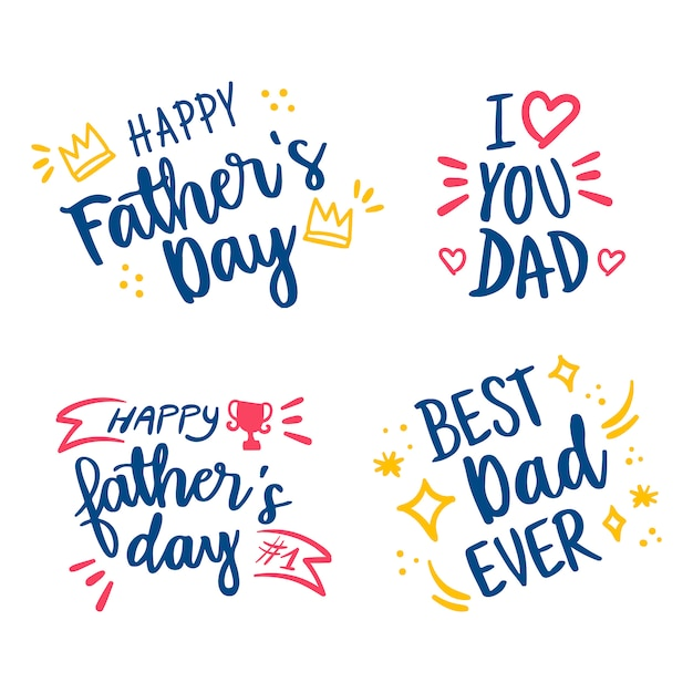 Счастливый день отцов рисованной надписи набор Бесплатные векторы