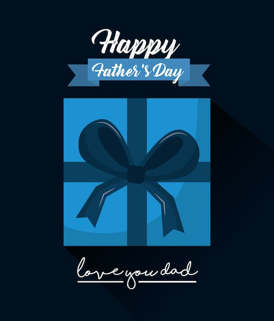 Happy fathers day love you dad top view gift box ribbon Premium Vector
